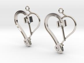 Crosshead Heart Earrings  in Platinum
