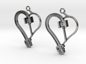 Crosshead Heart Earrings  in Polished Silver