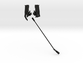 Gloves and Riding Crop in Black Natural Versatile Plastic: Small