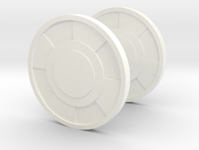 Round Cufflink in White Processed Versatile Plastic