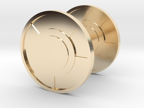 Round Cufflink in 14k Gold Plated Brass