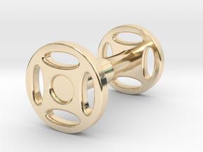 Wheeled Cufflink in 14K Yellow Gold