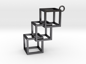 Cube Earring in Polished and Bronzed Black Steel