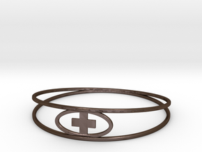 Round Plus Bracelet in Polished Bronze Steel