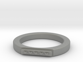 5 Heart Ring in Gray PA12