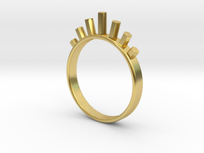 Ring with Hexagons in Polished Brass