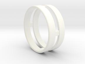 Double Ring in White Processed Versatile Plastic