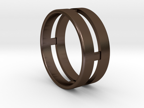 Double Ring in Polished Bronze Steel
