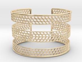 Mesh Grid Cuff V2 in 14k Gold Plated Brass