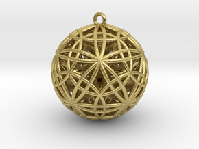 "Sphere of Sacred Union 2"" Pendant  in Natural Brass"