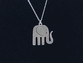 Elegant Elephant Pendant in Natural Silver