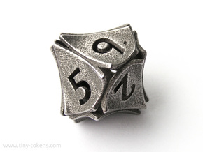 Peel Dice - D10 (ten sided gaming die) in Polished Bronzed-Silver Steel