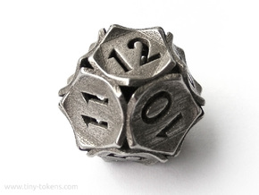 Peel Dice - D12 (twelve sided gaming die) in Polished Bronzed-Silver Steel