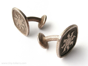 Cufflinks MTG White Mana Symbol (Plains) in Polished Bronzed-Silver Steel