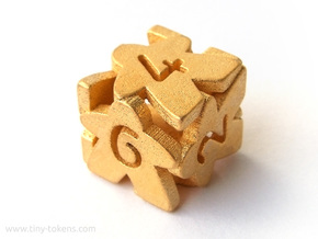 Meeple D6 dice in Polished Gold Steel