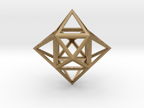 "Stellated Cube (Hexahedron) 1.8"" in Polished Gold Steel"