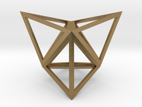 "Stellated Tetrahedron 1"" in Polished Gold Steel"
