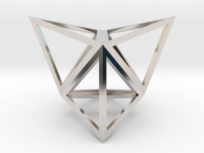 """Stellated Tetrahedron 1"""" in Rhodium Plated Brass"""