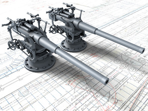 "1/72 German 8.8 cm/45 (3.46"") SK L/45 Guns x2 in Smooth Fine Detail Plastic"