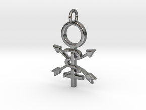 Women in Athletic Training Pendant  in Polished Silver