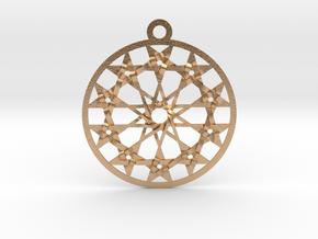 "Twelve 5 pointed Stars Pendant 1.8"" in Natural Bronze"