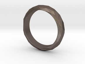 Low Poly Ring Narrow in Polished Bronzed-Silver Steel: 6 / 51.5