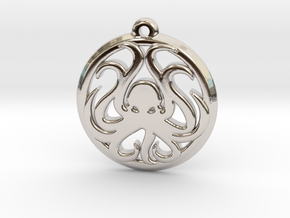 Cthulhu Lovecraft Pendant necklace all materials in Rhodium Plated Brass