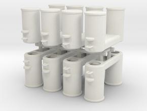 Double Bollards DIN 82607 - 1:50 - 8x in White Natural Versatile Plastic