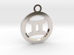 Gemini in Rhodium Plated Brass