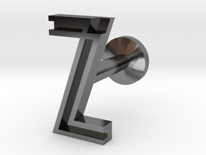 Letter Z in Fine Detail Polished Silver