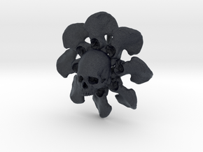 Skull Flower Bone Pendant in Black PA12