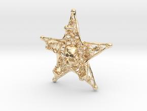 Mystical Pentagram Bone Pendant in 14k Gold Plated Brass