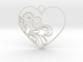 Heart Flower in White Natural Versatile Plastic