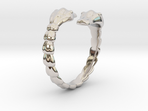 Double snake ring in Rhodium Plated Brass