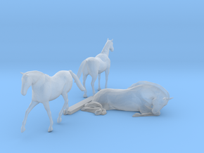 S Scale Horses 3 in Smooth Fine Detail Plastic
