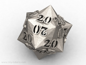 Faceted All 20's version - Novelty D20 gaming dice in Polished Bronzed-Silver Steel