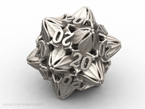 Floral All 20's version - Novelty D20 gaming dice in Polished Bronzed-Silver Steel