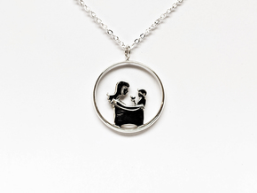 Mother & Son Pendant 3 -Motherhood Collection in Polished Silver