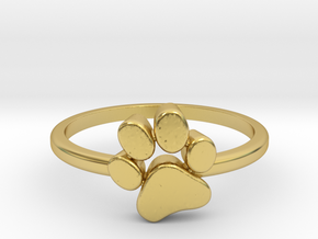 PawPrint Ring  in Polished Brass