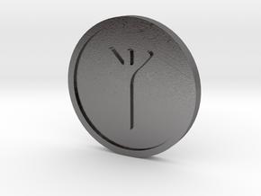 Algiz Coin  (Elder Futhark) in Polished Nickel Steel