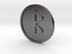 Berkanan Coin  (Elder Futhark) in Polished Nickel Steel