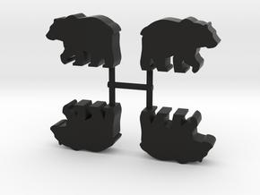 Bear Meeple, 4-set in Black Natural Versatile Plastic