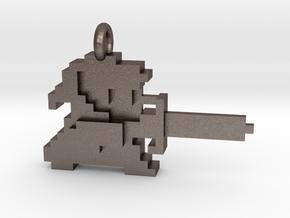 Zelda Link 8 bit Pendant necklace all materials in Polished Bronzed-Silver Steel