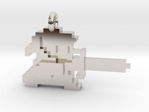 Zelda Link 8 bit Pendant necklace all materials in Rhodium Plated Brass