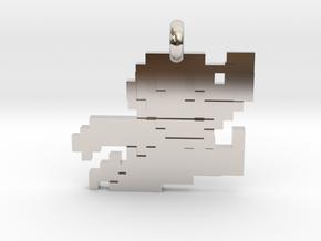 Mario bros 8 bit Pendant necklace all materials in Rhodium Plated Brass