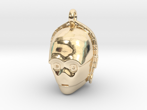 Star wars C3PO Pendant necklace all materials in 14K Yellow Gold