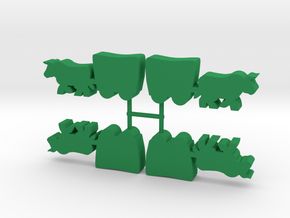 Ox and Wagon Meeple, 4-set in Green Processed Versatile Plastic