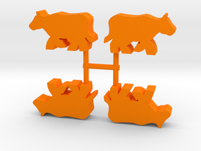 Cow Meeple, running, 4-set in Orange Processed Versatile Plastic