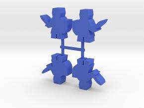 Great Helm Knight Meeple, 4-set in Blue Processed Versatile Plastic