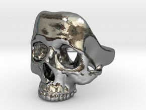 Skull Ring (fine) in Fine Detail Polished Silver: 9 / 59